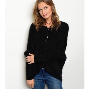 S-TWELVE Black Fuzzy Sweater with Chain Accent